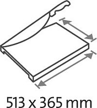 Table size (overall dimensions) 513 x 365 mm